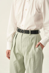 Oroton Phoebe Texture Jeans Belt in Charcoal and Croc effect leather for female