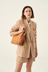 Oroton Kiera Hobo in Light Cognac and Pebble Leather for female