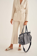 Oroton Elsie Baby Bag And Mat in Indigo/Grey Mist and Elsie Signature Jacquard Fabric/Vachetta Leather for female