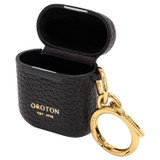 Oroton Anna AirPods Case Keyring in Black and Pebble Leather for female