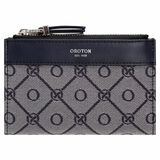 Oroton Elsie 11 Credit Card Zip Wallet in Indigo/Grey Mist and Elsie Signature Jacquard Fabric/Vachetta Leather for female