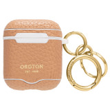 Oroton Anna AirPods Case Keyring in Biscotti and Pebble Leather for female