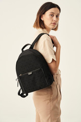 Oroton Elsie Backpack in Black and Elsie Signature Jacquard Fabric/Vachetta Leather for female