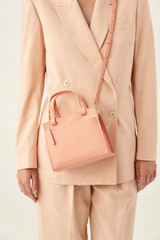 Oroton Lucy Mini Tote Crossbody in Peach Kiss and Pebble Leather for female