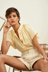 Oroton Gathered Short Sleeve Shirt in Pale Lemon and 100% Cotton for female