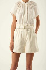 Oroton Paperbag Waist Short in Cream and 100% Cotton for female