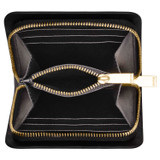 Oroton Dahlia Texture Square Seamless Wallet in Black and Lizard Embossed Leather for female