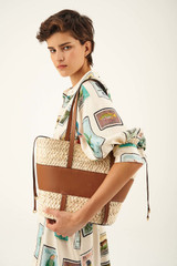 Oroton Anya Medium Basket in Umber/Natural and Woven Straw/Smooth Leather for female
