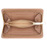 Oroton Dahlia Texture Medium Seamless Wallet in Praline and Lizard Embossed Leather for female