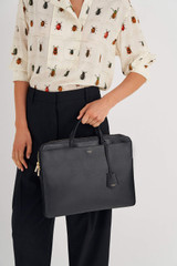 """Oroton Muse 15"""" Slim Laptop Bag in Black and Two Tone Saffiano Leather / Smooth Leather for female"""