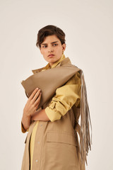Oroton Aspen Large Clutch in Khaki and Smooth Leather for female