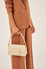 Oroton Alva Luxe Day Bag in French Vanilla and Snake Embossed Leather for female