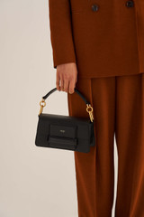 Oroton Alva Small Day Bag in Black and Pebble Leather for female