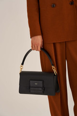 Oroton Alva Day Bag in Black and Pebble Leather for female