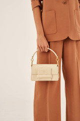 Oroton Alva Luxe Small Day Bag in French Vanilla and Snake Embossed Leather for female