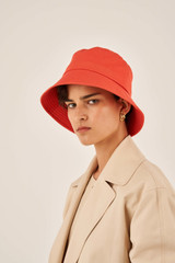Oroton Alva Drill Bucket Hat in Soft Rouge and 100% Cotton for female
