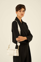 Oroton Alva Small Day Bag in Paper White and Pebble Leather for female