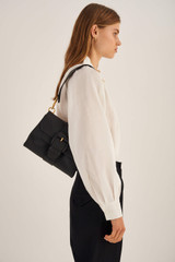 Oroton Frida Soft Medium Satchel in Black and Soft Small Pebble Leather for female