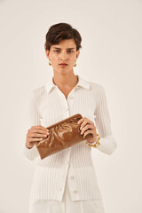 Oroton Celia Patent Long Clutch in Bran and Patent Leather for female