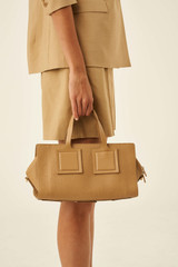 Oroton Maple Bowler Closed Zip in Sahara and Pebble Leather for female