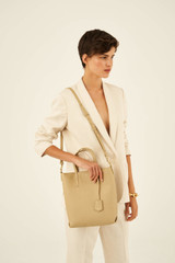Oroton Duo Small Zip Tote in Blonde and Pebble Leather for female