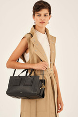 Oroton Maple Bowler Closed Zip in Black and Pebble Leather for female