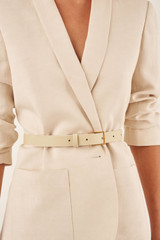 Oroton Cara Narrow Belt in French Vanilla and Smooth Leather for female