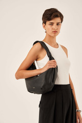 Oroton Malin Croissant Bag in Black and Pebble Leather for female