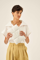 Oroton Freja Large Clutch in Pure White and Smooth Leather for female