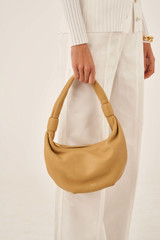 Oroton Malin Small Croissant in Maize and Pebble Leather for female
