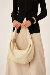 Oroton Malin Croissant Bag in Vanilla and Pebble Leather for female