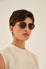 Oroton Drew Sunglasses in Gold and Acetate for female