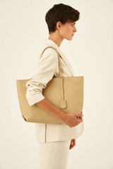 Oroton Duo Medium Zip Tote in Blonde and Pebble Leather for female