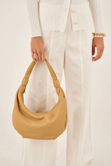 Oroton Malin Croissant Bag in Maize and Pebble Leather for female