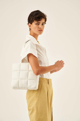 Oroton Freja Mini Tote in Pure White and Smooth Leather for female