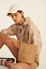 Oroton Maple Bucket in Sahara and Pebble Leather for female