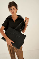 Oroton Maple Tote in Black and Pebble Leather for female