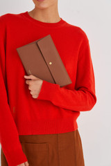 Oroton Margot Medium Pouch in Whiskey and Pebble Leather for female