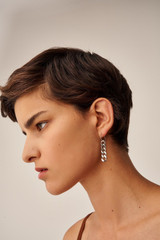 Oroton Noa Drop Hoops in Worn Silver and Brass Base Metal With Worn Silver Finished for female