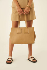 Oroton Maple Tote in Sahara and Pebble Leather for female