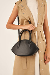 Oroton Muse Medium Crescent Bag in Black and Saffiano / Smooth for female