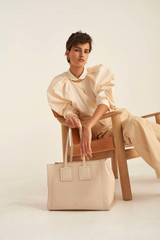 Oroton Maple Tote in Bone and Pebble Leather for female