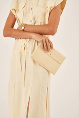 Oroton Margot Medium Pouch in Pale Vanilla and Pebble Leather for female