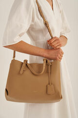 Oroton Margot Medium Day Bag in Sahara and Pebble Leather for female