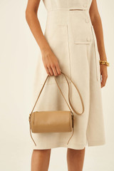 Oroton Margot Drum Bag in Sahara and Pebble Leather for female