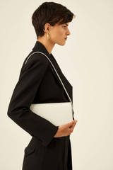 Oroton Muse Texture Baguette Bag in Pure White and Croc Effect Leather for female