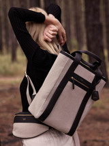 Oroton Oroton X Hemp Black Backpack in Natural and Body material: 100% Hemp canvas fabric with Faux Leather Hemp Black infused trims, with anti-bacterial technology for female