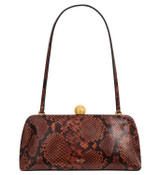 Oroton Nova Clutch in Mahogany Texture and Snake Embossed Leather for female