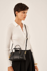 Oroton Willow Small Day Bag in Black and Smooth Leather for female
