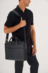 Oroton Weston Griptop in Black and Pebble Leather for male